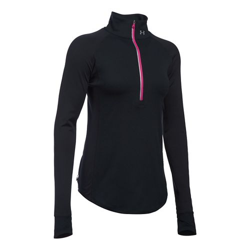 Womens Under Armour Layered Up 1/2 Zip Long Sleeve Technical Tops - Black/Tropic Pink M ...