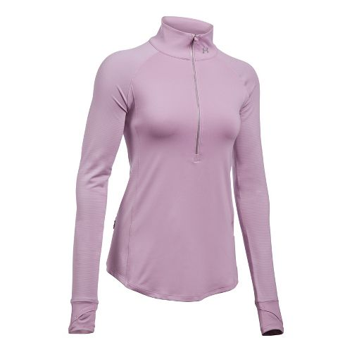 Womens Under Armour Layered Up Half-Zips & Hoodies Technical Tops - Fresh Orchid M