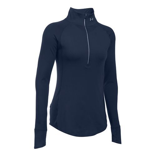 Womens Under Armour Layered Up 1/2 Zip Long Sleeve Technical Tops - Midnight L