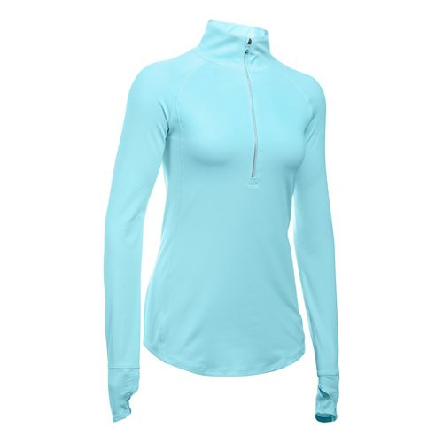 Womens Under Armour Layered Up 1/2 Zip Long Sleeve Technical Tops - Maui L