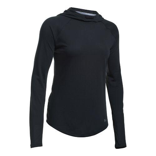 Womens Under Armour Streaker Half-Zips & Hoodies Technical Tops - Black/Black L