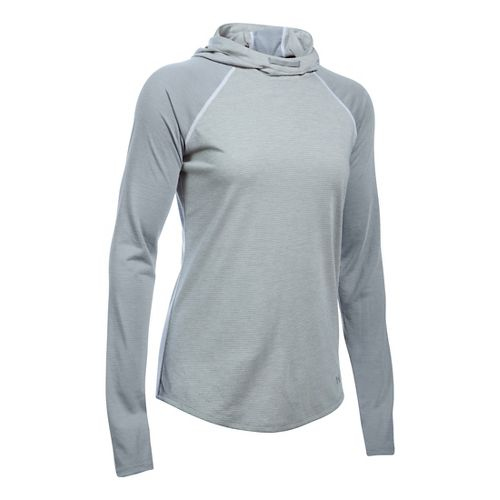 Womens Under Armour Streaker Half-Zips & Hoodies Technical Tops - True Grey Heather M