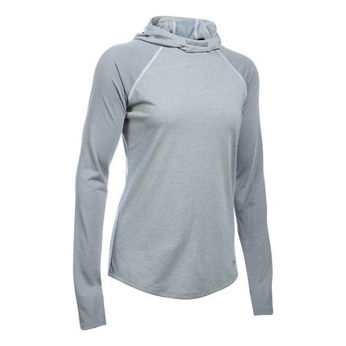 Womens Under Armour Streaker Half-Zips & Hoodies Technical Tops - True Grey Heather XL
