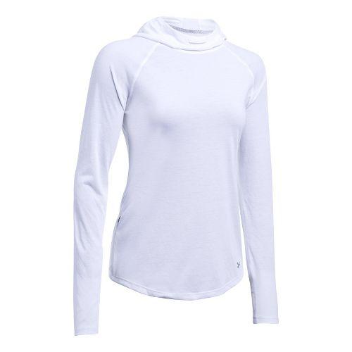 Womens Under Armour Streaker Half-Zips & Hoodies Technical Tops - White/White L