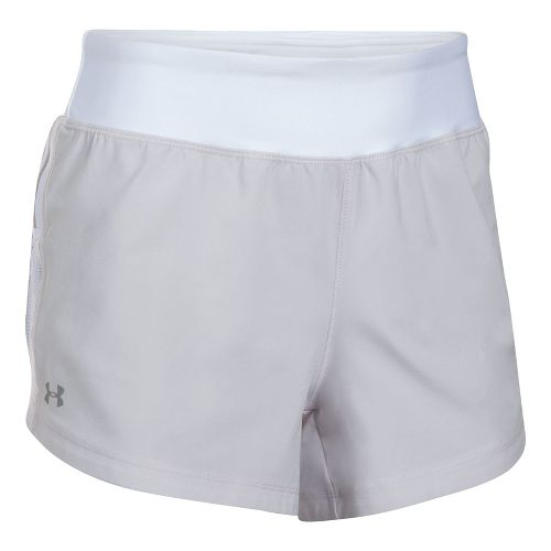 Womens Under Armour Stretch Woven Lined Shorts - Grey/White M