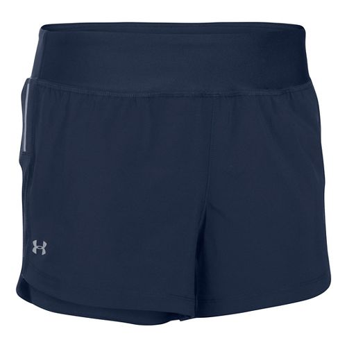Womens Under Armour Stretch Woven Lined Shorts - Midnight L