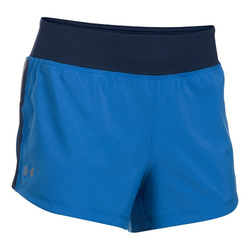 Womens Under Armour Stretch Woven Lined Shorts - Mediterranean/Navy L