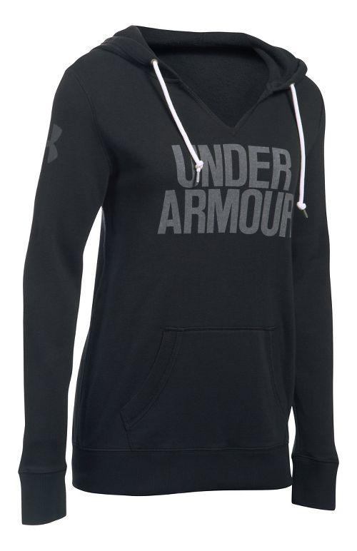 Womens Under Armour Favorite Fleece Popover Hoodie & Sweatshirts Technical Tops - Black/White L