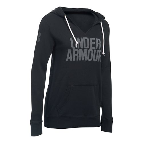 Womens Under Armour Favorite Fleece Popover Hoodie & Sweatshirts Technical Tops - Black/White M