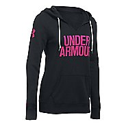 Womens Under Armour Favorite Fleece Popover Hoodie & Sweatshirts Technical Tops - Black/Tropic ...