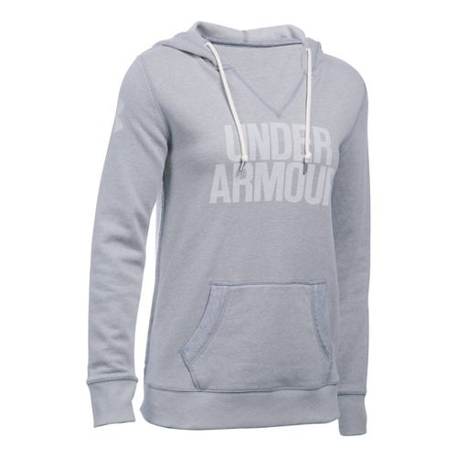 Womens Under Armour Favorite Fleece Popover Hoodie & Sweatshirts Technical Tops - True Grey ...