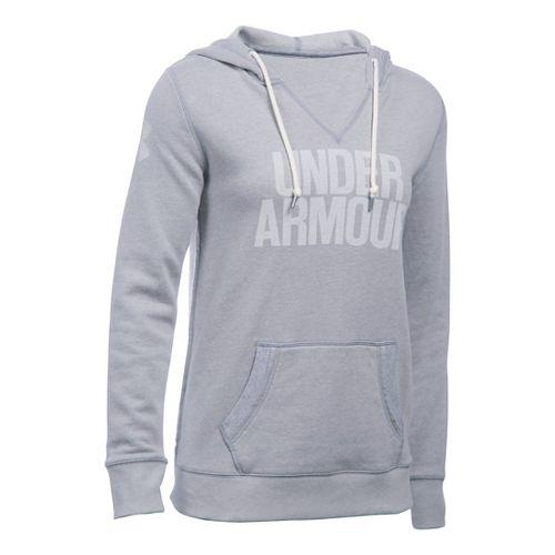 Womens Under Armour Favorite Fleece Popover Hoodie & Sweatshirts Technical Tops - True Grey ...