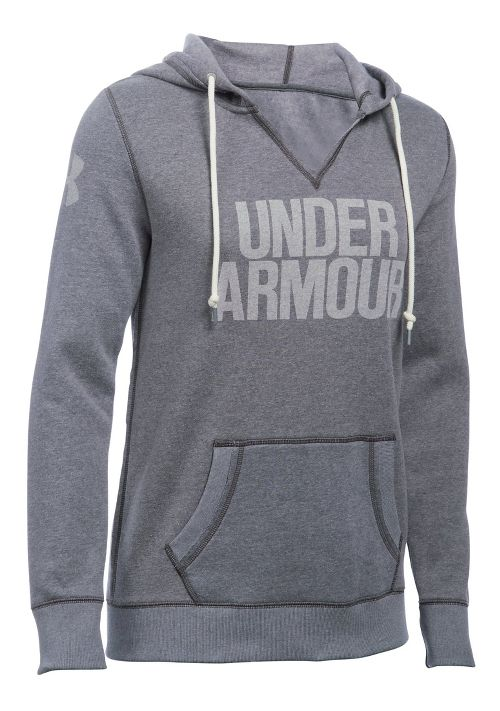 Womens Under Armour Favorite Fleece Popover Hoodie & Sweatshirts Technical Tops - Carbon Heather M