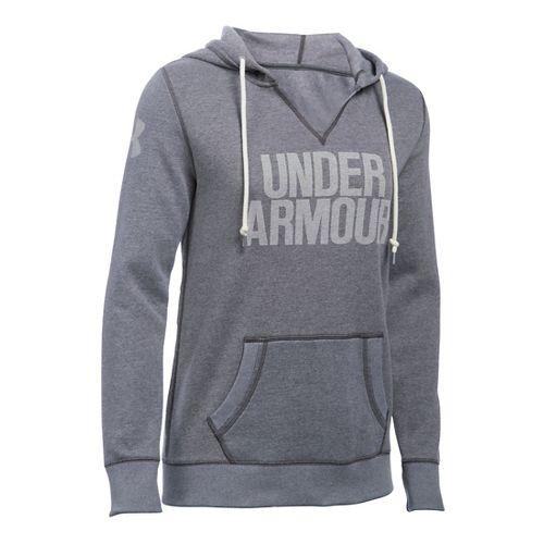 Womens Under Armour Favorite Fleece Popover Hoodie & Sweatshirts Technical Tops - Carbon Heather M
