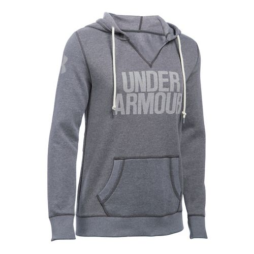 Womens Under Armour Favorite Fleece Popover Hoodie & Sweatshirts Technical Tops - Carbon ...