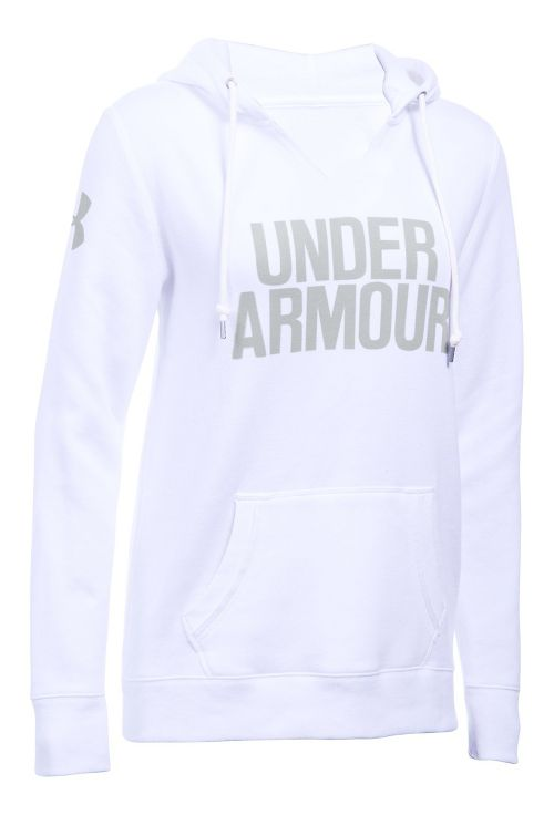 Womens Under Armour Favorite Fleece Popover Hoodie & Sweatshirts Technical Tops - White M