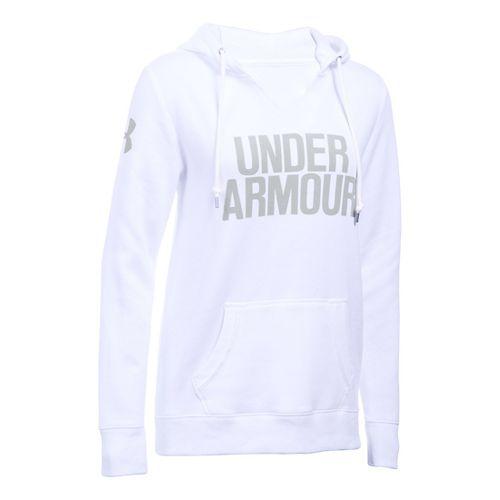 Womens Under Armour Favorite Fleece Popover Hoodie & Sweatshirts Technical Tops - White M
