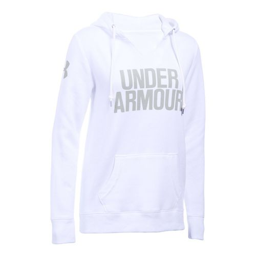 Womens Under Armour Favorite Fleece Popover Hoodie & Sweatshirts Technical Tops - White S