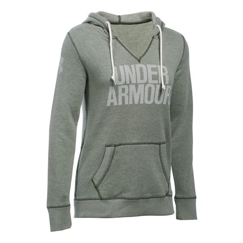 Womens Under Armour Favorite Fleece Popover Hoodie & Sweatshirts Technical Tops - Downtown Green S