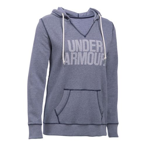Womens Under Armour Favorite Fleece Popover Hoodie & Sweatshirts Technical Tops - Midnight Navy ...