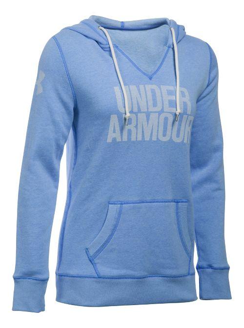 Womens Under Armour Favorite Fleece Popover Hoodie & Sweatshirts Technical Tops - Water L
