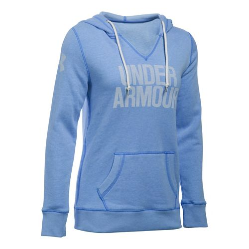 Womens Under Armour Favorite Fleece Popover Hoodie & Sweatshirts Technical Tops - Water S