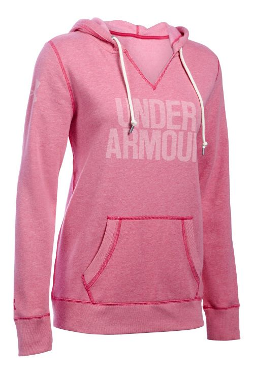 Womens Under Armour Favorite Fleece Popover Hoodie & Sweatshirts Technical Tops - Tropic Pink M ...