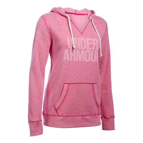 Womens Under Armour Favorite Fleece Popover Hoodie & Sweatshirts Technical Tops - Tropic Pink M