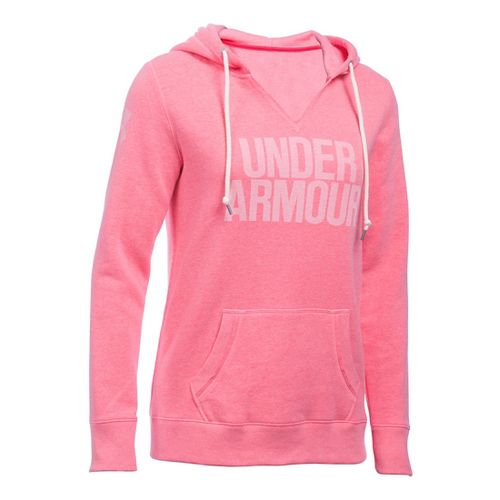 Womens Under Armour Favorite Fleece Popover Hoodie & Sweatshirts Technical Tops - Knock Out S ...