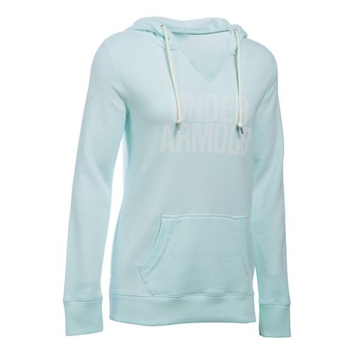 Womens Under Armour Favorite Fleece Popover Hoodie & Sweatshirts Technical Tops - Aqua Falls M ...