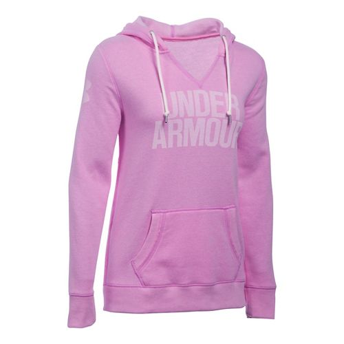 Womens Under Armour Favorite Fleece Popover Hoodie & Sweatshirts Technical Tops - Verve Violet S