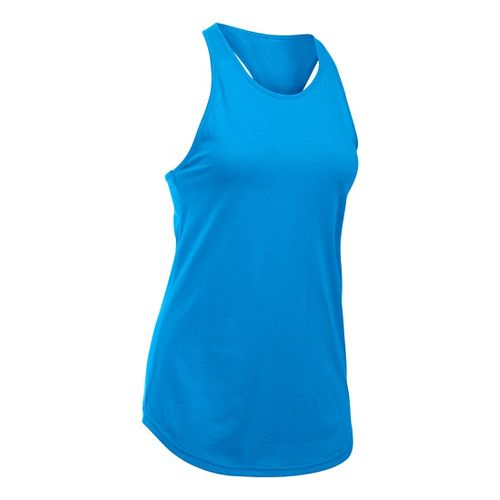 Womens Under Armour Charged Cotton Microthread Keyhole Tanks Technical Tops - Water M