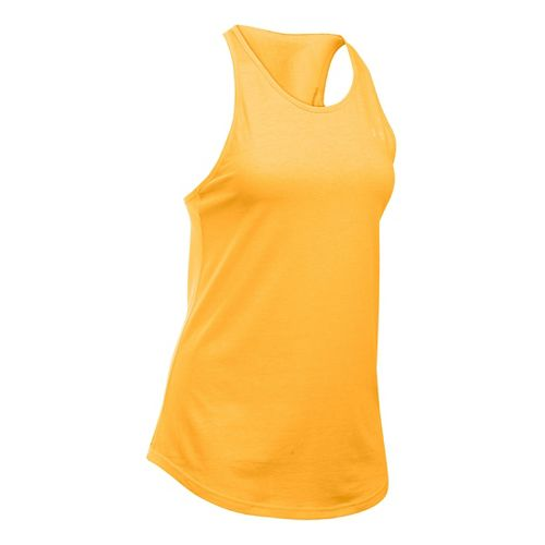 Womens Under Armour Charged Cotton Microthread Keyhole Tanks Technical Tops - Mango Orange L