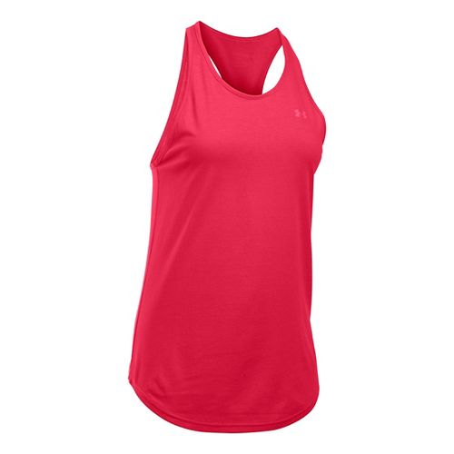 Womens Under Armour Charged Cotton Microthread Keyhole Tanks Technical Tops - Knock Out S