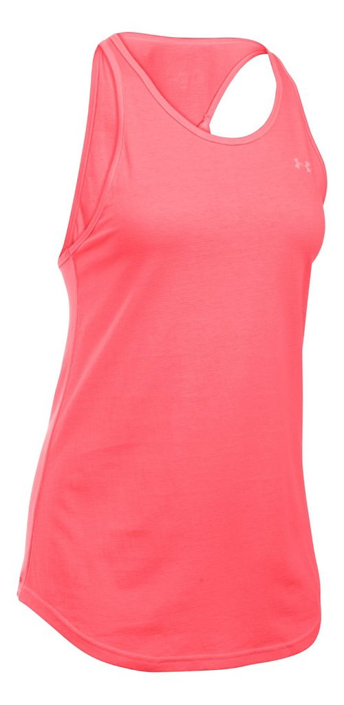 Womens Under Armour Charged Cotton Microthread Keyhole Tanks Technical Tops - Brilliance XS