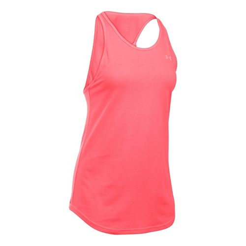 Womens Under Armour Charged Cotton Microthread Keyhole Tanks Technical Tops - Brilliance S