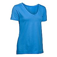 Womens Under Armour Charged Cotton Microthread Short Sleeve Technical Tops - Water M