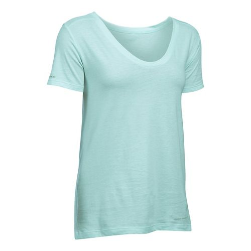 Womens Under Armour Charged Cotton Microthread Short Sleeve Technical Tops - Aqua Falls S