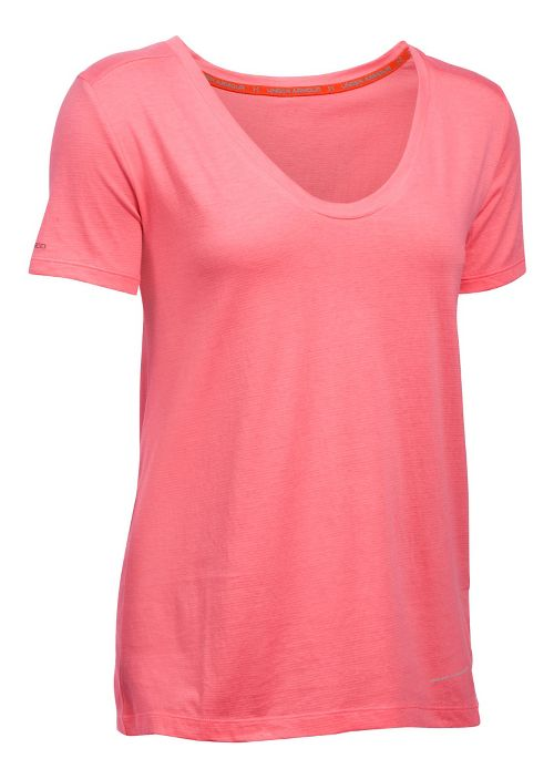 Womens Under Armour Charged Cotton Microthread Short Sleeve Technical Tops - Brilliance L