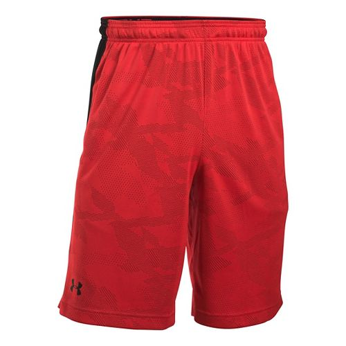 Mens Under Armour Raid Jacquard Unlined Shorts - Red/Black M