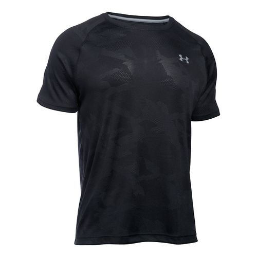 Mens Under Armour Tech Jacquard Tee Short Sleeve Technical Tops - Black L
