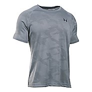 Mens Under Armour Tech Jacquard Tee Short Sleeve Technical Tops - Steel/Stealth Grey M