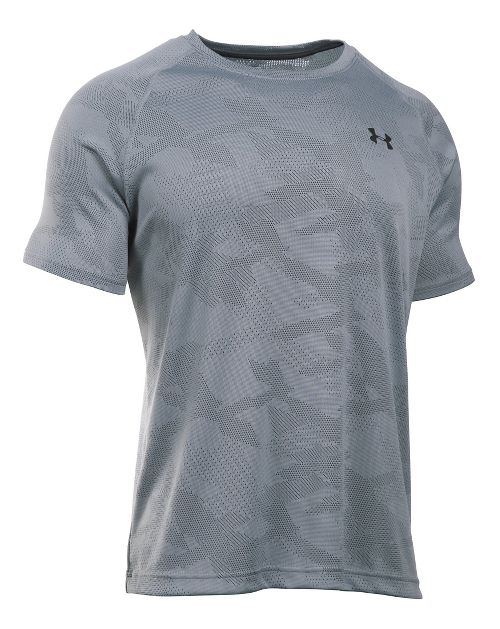 Mens Under Armour Tech Jacquard Tee Short Sleeve Technical Tops - Steel/Stealth Grey L