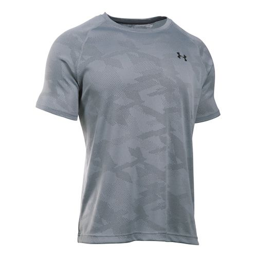 Mens Under Armour Tech Jacquard Tee Short Sleeve Technical Tops - Steel/Stealth Grey XL
