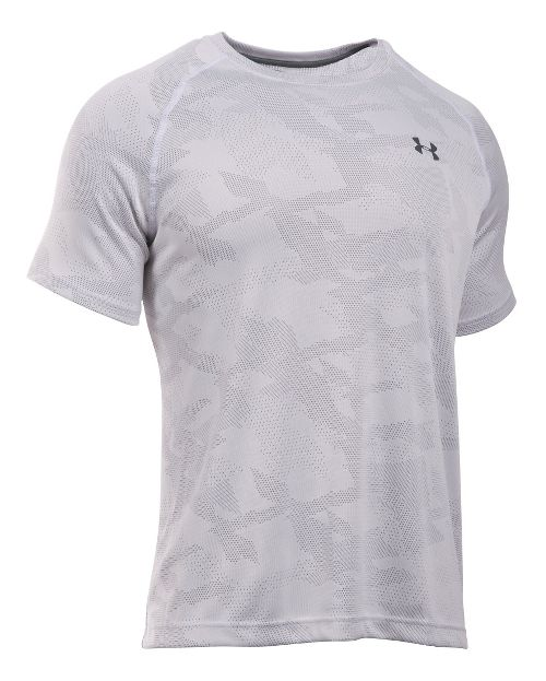 Mens Under Armour Tech Jacquard Tee Short Sleeve Technical Tops - White/Overcast Grey L