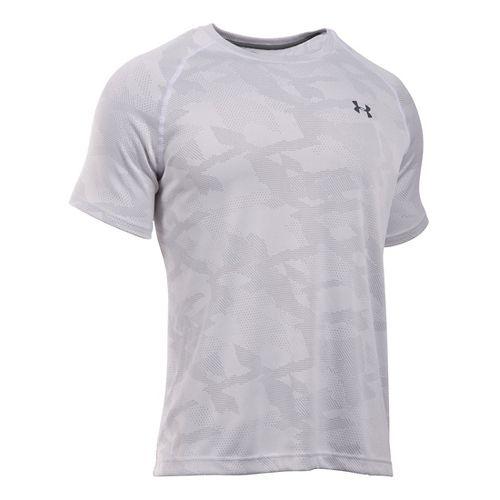 Mens Under Armour Tech Jacquard Tee Short Sleeve Technical Tops - White/Overcast Grey L