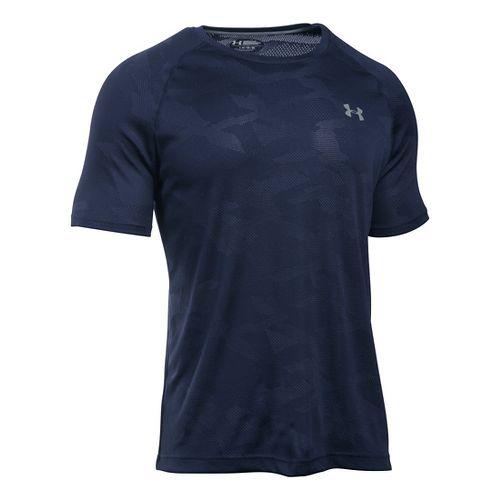 Mens Under Armour Tech Jacquard Tee Short Sleeve Technical Tops - Midnight Navy/Ink M