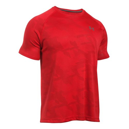 Mens Under Armour Tech Jacquard Tee Short Sleeve Technical Tops - Red/Rapture Red L