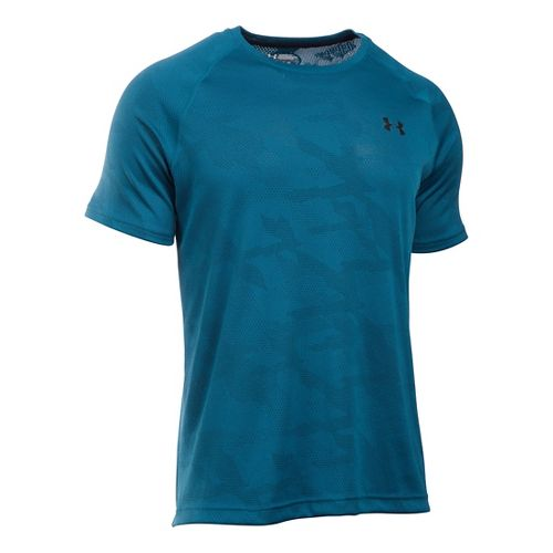 Mens Under Armour Tech Jacquard Tee Short Sleeve Technical Tops - Peacock/Nova Teal L