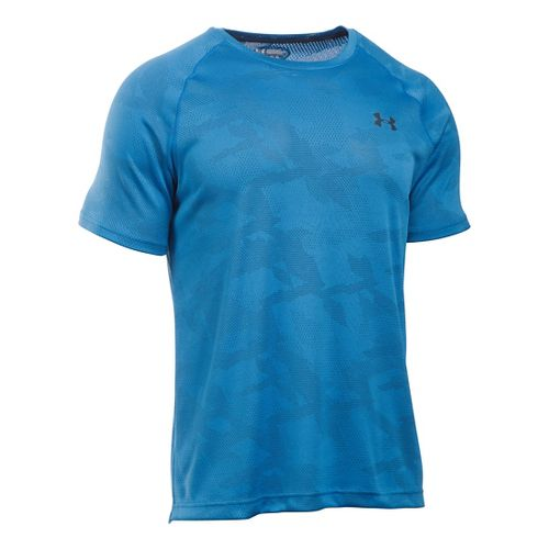 Mens Under Armour Tech Jacquard Tee Short Sleeve Technical Tops - Brilliant Blue/Grey L